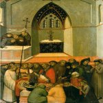 Pietro Lorenzetti (c. 1280 - 1348)  Funeral of Humilitas  Gold and tempera on panel, 1316  Galleria degli Uffizi, Florence, Italy
